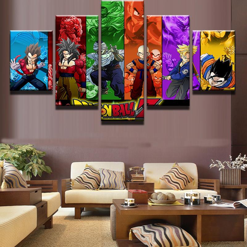 5 Pcs Set Framed HD Printed Dragon Ball Z Goku Movie Poster Wall Decor Art  Canvas Oil Painting For Living Room Wall. Online Get Cheap Dragon Ball Poster Frame  Aliexpress com