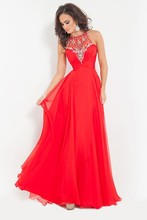 Red Evening Dresses vestidos de festa Halter Floor Length Beading Long Evening Dress 2015 robe de soiree(China (Mainland))