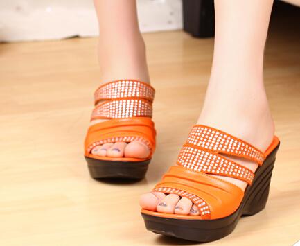Фотография 2014 New Sale Hot Freeshipping Medium(b,m) Sapatos Femininos Shoes Women Toe Diamond Is Cool Procrastinate High-heeled Slippers