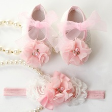 Newborn Baby Girl Shoes Brand,Toddler Infant Fabric Baby Booties Headband Set,Little Girl Baby Walker First Shoe,#2T0051(China (Mainland))