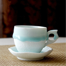 European high-grade hand-painted coffee cups and saucers suit creative ceramic  embossed coffee cup set
