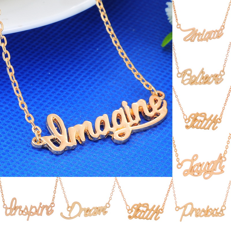 New Meaningful Words Necklace Pendant Happy Good Wishes Fashion Jewelry Gift 1PC(China (Mainland))