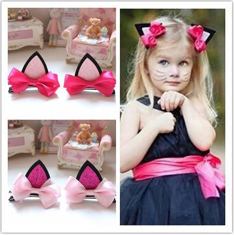 A pair/lot 2016 wholesale hot fashion cat ear girls barrettes bowknot kids hairpins hair accessory children hairclips FS111Одежда и ак�е��уары<br><br><br>Aliexpress