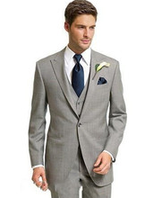Classic Light Gray Three Piece Wedding Suit