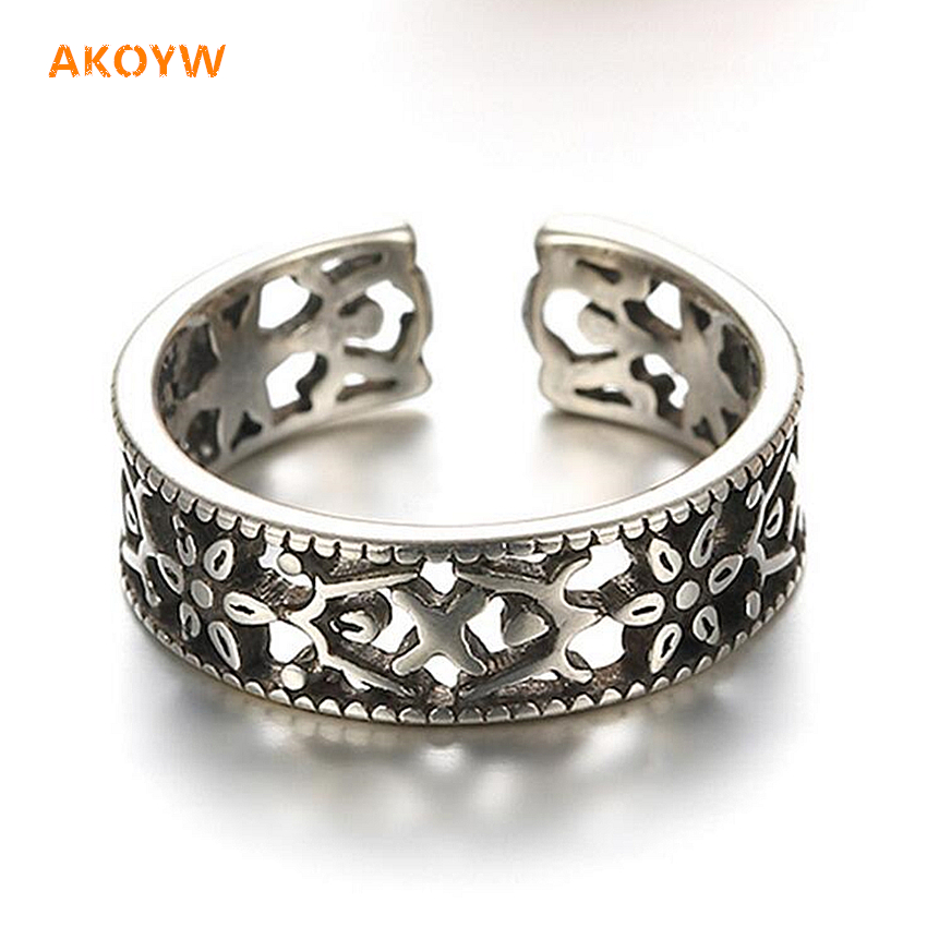 2016 New Lady fashion totem antique silver Thai silver hollow black high-quality silver jewelry cute ring opening(China (Mainland))