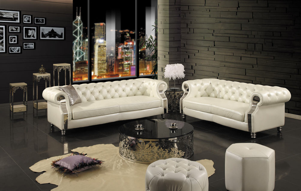 2015 New chesterfield sofa modern living room sofa leather sofa#sf301# 2+3-seater, side table and coffee table and 2 stools(China (Mainland))