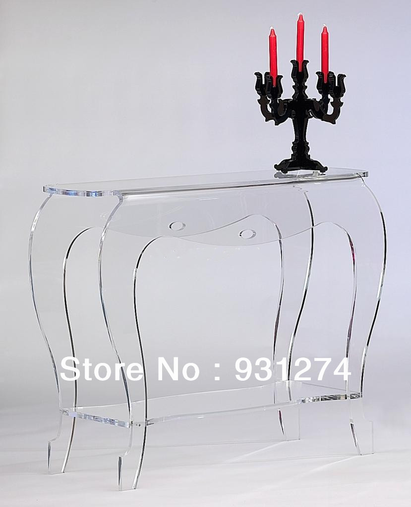 haute transparence acrylique console table plexiglas lucite vanity bureau dans tables consoles. Black Bedroom Furniture Sets. Home Design Ideas