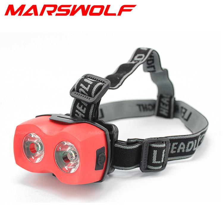 2016 new arrived Outdoor camping 3*AAA 2 LED mini headlight Headlamp head light lantern torch flashlight - Marswolf store