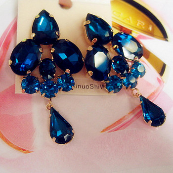 2015 Fashion jewelry blue crystal artificial gem patchwork flower ladies sexy big gold drop earrings for women