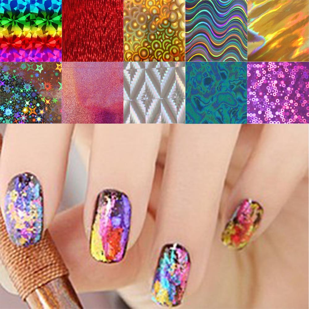 10pcs/lot Nail Art Transfer Foils Stickers Super Beautiful Nail Gel Polish Wrap Mixed Designed Nail Tips Decorations Tools(China (Mainland))