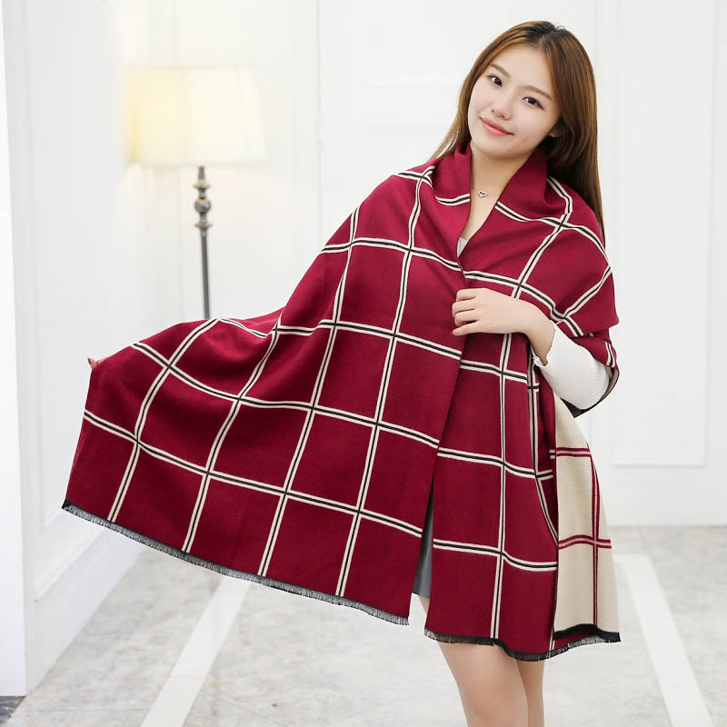 2016 New Winter British Double-sided Grid Large Oblique Thickening Cashmere Scarf Shawl Female