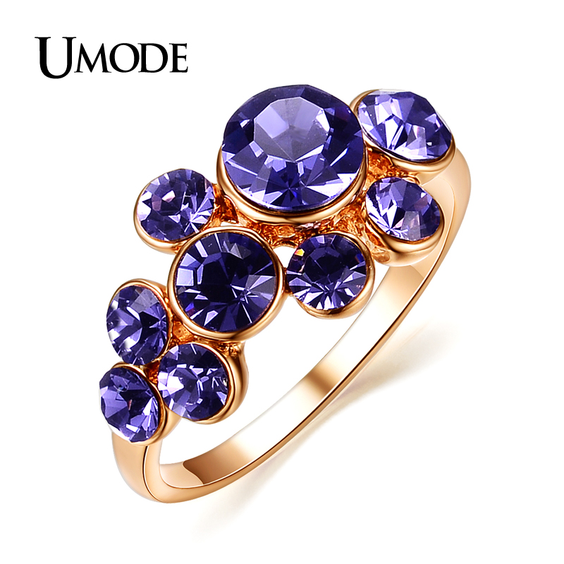 UMODE Wholesale Fashion 18K Rose Gold Plated Purple Austrian Crystal Cluster Rings For Women Cheap Jewelry Stores AJR0100(China (Mainland))