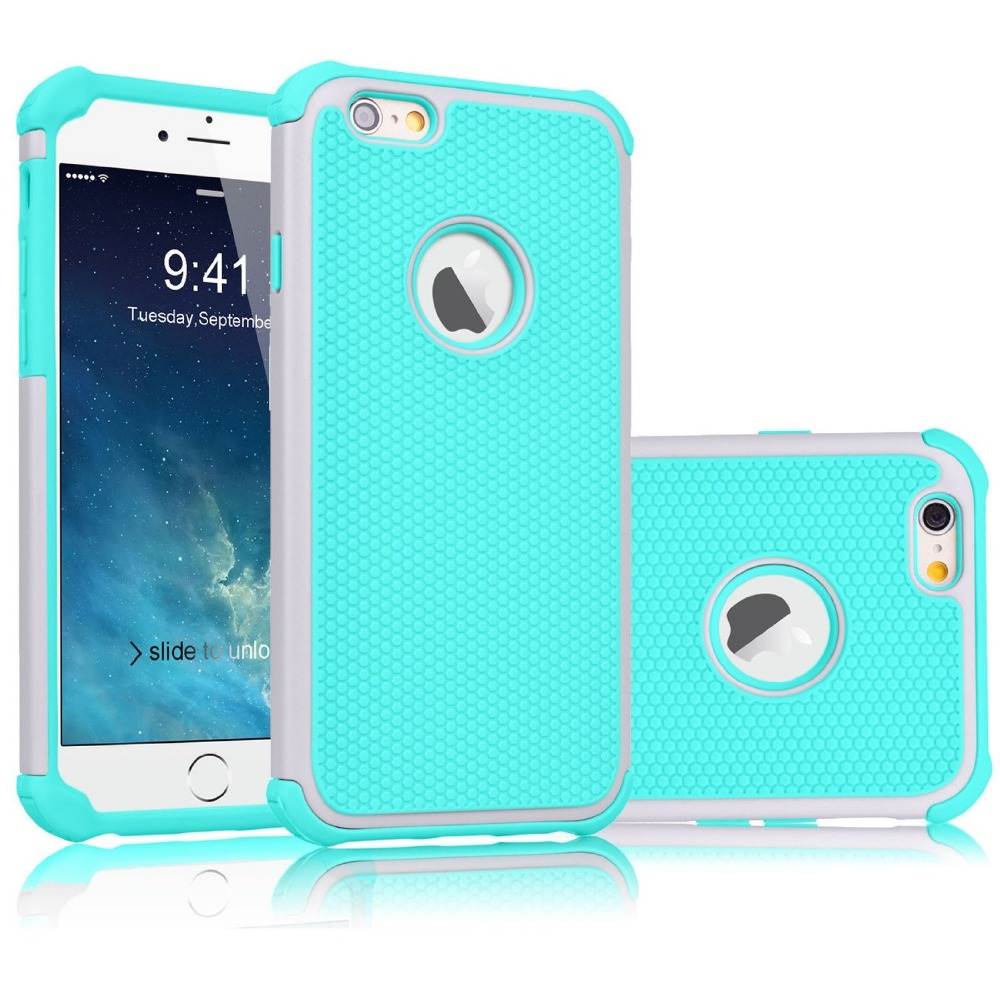 Coque iPhone 6S 6 Case Hybrid Rugged Rubber Armor Shockproof Hard 6G Cover Dual Layer Protection - Kindamart store