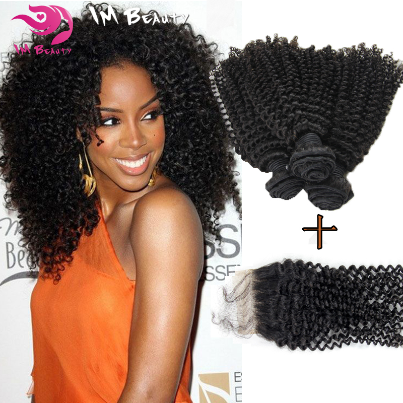 Cheap Brazilian Kinky Curly Weave Hair 3 Bundles With 1pc 4x4 Brazilian Kinky Curly Virgin Hair Closure Free Shipping<br><br>Aliexpress