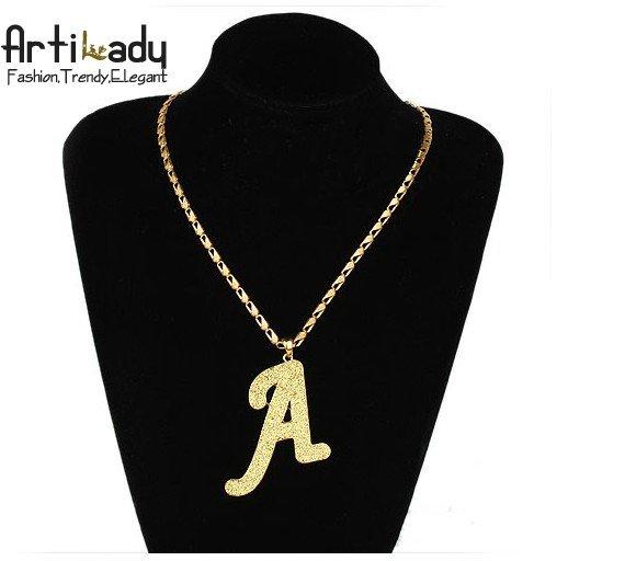 Artilady 18kGP character letter A chains necklaces man chains necklaces 18k gold jewelry chains necklaces
