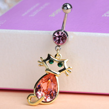 Luxury Brand Ruby Red Piercing Body Jewelry Kawaii Cute cat Rhinestone Belly Button Rings Pirsing Gothic Women's Bijoux Percing