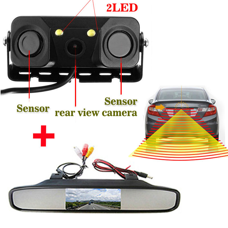 new 3in1 Video Parking Assistance Sensor Backup Radar With Rear View Camera + 4.3inch LCD Car Foldable / Rearview Mirror Monitor(China (Mainland))