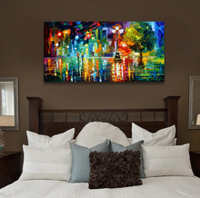 Abstract landscape print painting canvas on canvas no frame wall pictures for living room city night in the rain oil paintings(China (Mainland))