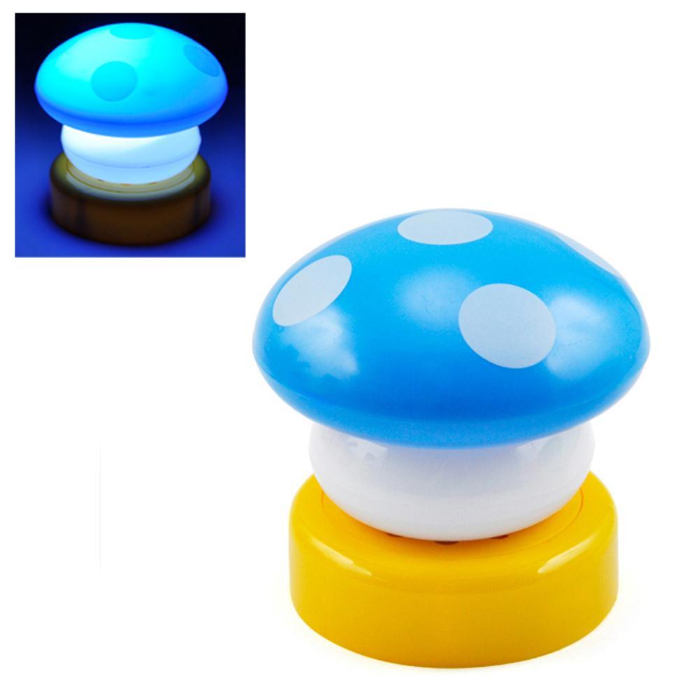 UESH! 2X Blue Mushroom Night Light LED Childrens Nursery Light Desk Lamp Bed Side Lamp(China (Mainland))