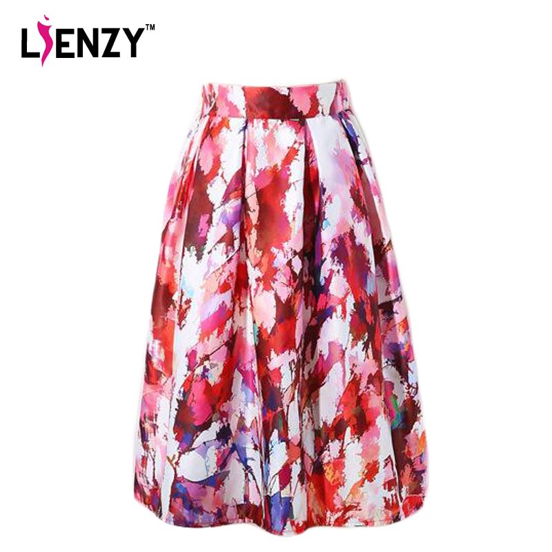 LIENZY Ink-Jet Skirt Maple Leaf Printing Elastic Waist Silk Fabric High Waist Midi Umbrella Skirt A Line Lady Skirt(China (Mainland))