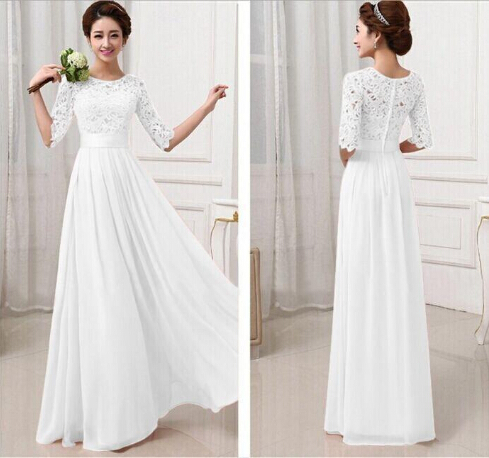 Sexy Womens Chiffon Lace Boho Long Maxi Evening white lace dresses women Formal Party Runway Dress(China (Mainland))