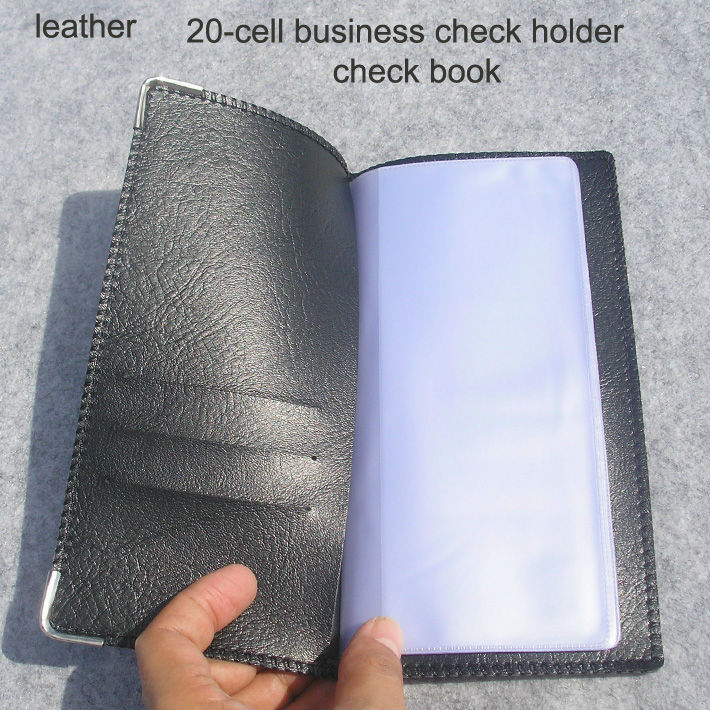 free shipping 20-cell leather cover business checkbook chequebook holder folder black 1138(China (Mainland))