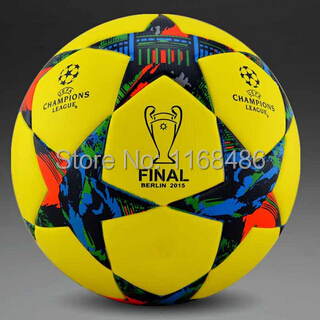 Top Sale 2015 champion league ball and FINAL BERLIN 2015 soccer ball soccer -slip TPU tasteless seamless particles Soccer Size 5(China (Mainland))