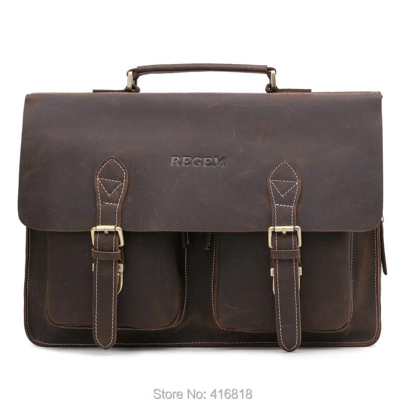 REGEM Men's Laptop Messenger Bag Men's 100% Real Leather Briefcase Tote(China (Mainland))