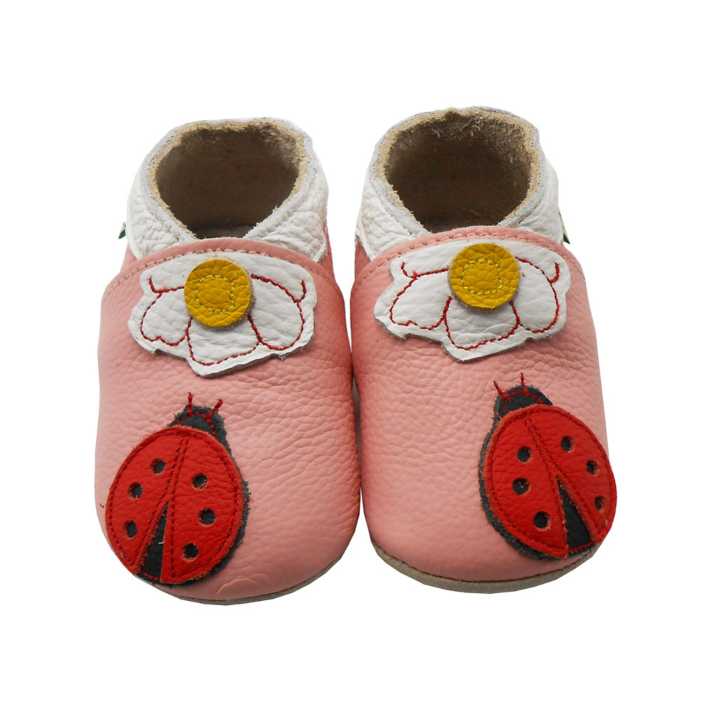Sayoyo 2016 Genuine Leather Baby Moccasins Pink Soft Sole Ladybug Infant Toddler Newborn Crib Shoes First Walker Free Shipping()