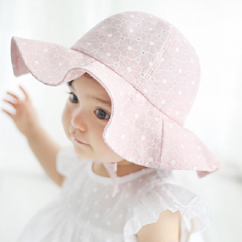Kids Pink Sun Hat Summer Cotton Bucket Hat Toddler & Children Girls Brim Beach Hat With Wide Brim 1pc H835(China (Mainland))