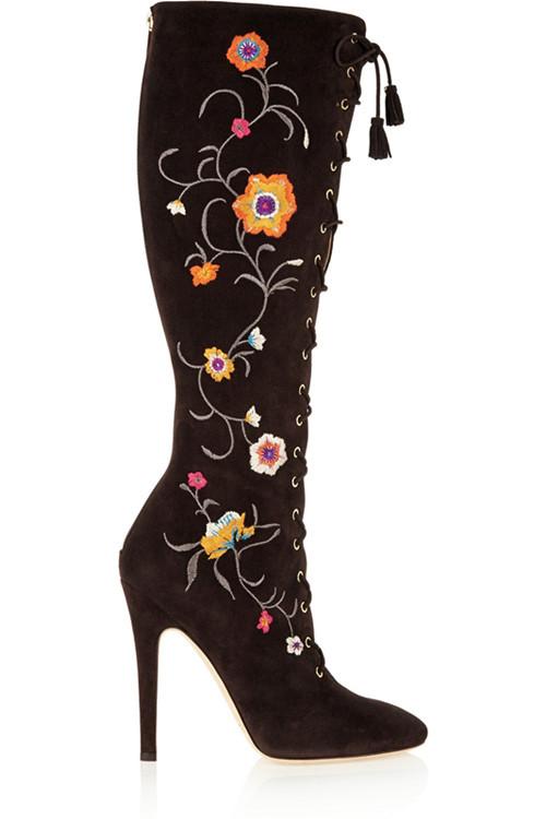 Brand Designer Flock Shoes Women Stiletto Heel Round Toe Botas Stick Zipped Lace-Up Knee Boots<br>