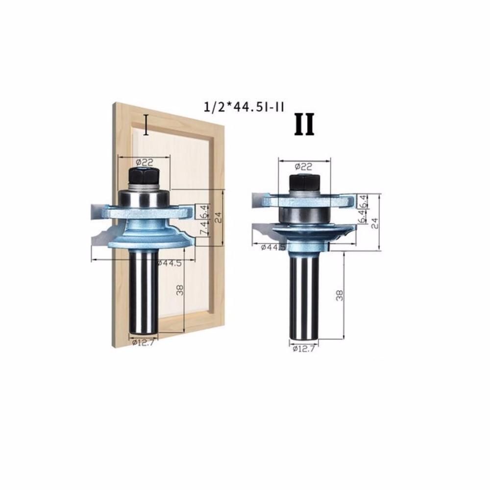Buy SHINA 2PCS 1/2*44.5I-II Concave Stile and Rail Bits Nail Tenon Joints Door Knife  Milling cutter -2pcs/set cheap