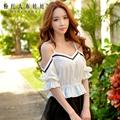 dabuwawa 2016 summer pullover shirts short sleeved slim fashion casual sexy v collar blouse women white