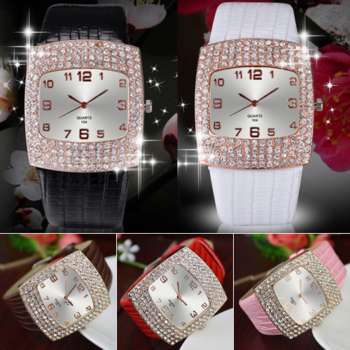 Women s Luxury Square Shiny Crystal Rhinestones Faux Leather Analog Wrist WatchPopular Product 4KPO