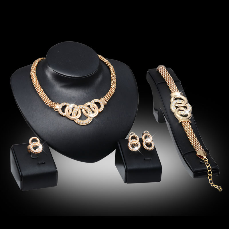 african beads jewelry set Collar Statement Necklace Earrings Bracelet Fine Rings For Women CZ Diamond Vintage Party Accessories(China (Mainland))