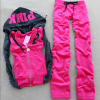 Hot-selling 2016 women's autumn Hoodies PINK color block velvet sports sweatshirt, Two Pieces Velvet  Sports Suit  Free Shipping