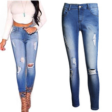 2016 high waist skinny tight long jeans pencil Stretch ripped Denim pants plus size for womans woman female trousers hot sell