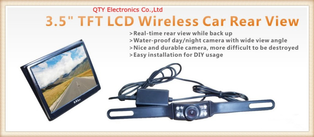 3.5 Inch Built-in Receiver TFT LCD Rear View Mirrors Monitor + Water-proof day/night camera + Car Power Supply(China (Mainland))
