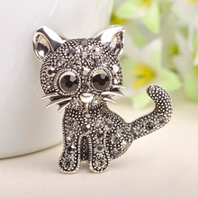 Cute Little Cat Brooches Pin Up Jewelry For Women Suit Hats Clips Antique Silver Corsages Brand Bijoux Bijouterie Free Shipping(China (Mainland))