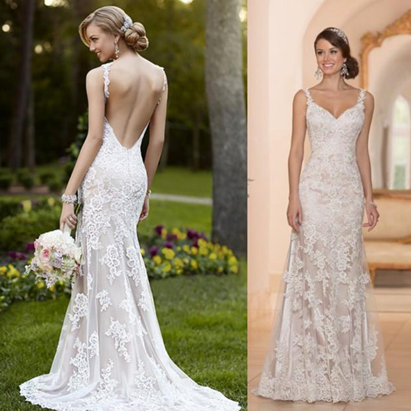 Newest 2016 wedding dresses sheer with lace sheath for Spaghetti strap backless wedding dress