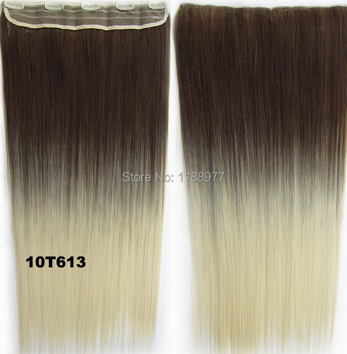 New Fashion Clip in on Straight Synthetic Ombre Hair 5 Clips in Hairpieces Slice two tone Hair Extension color code 4T24(China (Mainland))