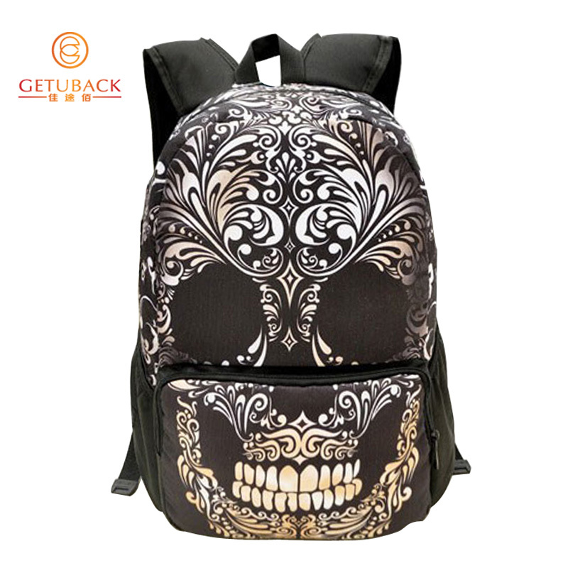 2015 New Nylon women backpack Skull and crossbones printed boys & girls fashional daily bags,SD002(China (Mainland))