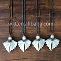 Wholesale natural butterfly wing shell rhinestone cz paved jewelry fashion white shell necklace