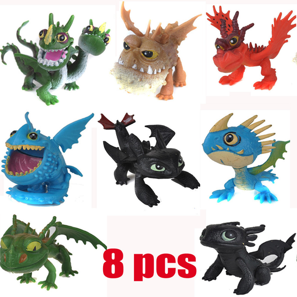 How to Train Your Dragon 2 PVC Action Figures Toy Doll NightFury Toothless Dragon 8pcs/Lot(China (Mainland))