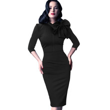 2015 New Womens Elegant 1950s Vintage Pinup Retro Rockabilly 3/4 Sleeve Bow Party Work Sheath Bodycon Wiggle Pencil Dress 142(China (Mainland))