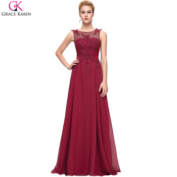 Elegant Long Evening Dresses 2016 Robe Grace Karin Chiffon Sleeveless Applique Open Back Red Formal Dress Engagement Party Gowns