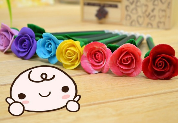 Wholesale 20pcs/lot Free Shipping Colorful Flower Ball Pen Rose Plush Pens Craft pen Wedding Necessity Creative Gift For Kids(China (Mainland))