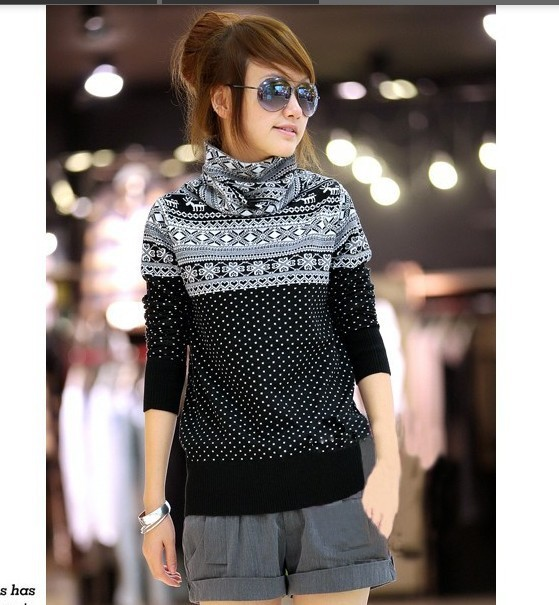 New sweater 2013 women fashion Autumn/winter all-match wool turtleneck slim pullover Thicken hot sale Christmas in stock 713(China (Mainland))