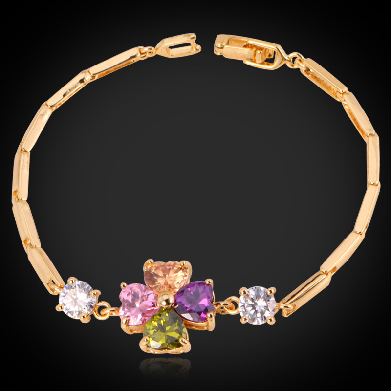 Crystal Bracelets For Women 2015 Fashion Jewelry 18K Real Gold Plated Luxury Clover Colorful AAA+ Cubic Zirconia Bracelet H407(China (Mainland))