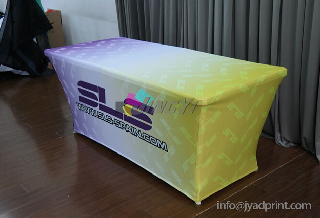 8' Stretch Fabric Trade Show Table Cover Printed Full Color Dye Sublimation, Custom Print Event Table Clothes / Free shipping(China (Mainland))